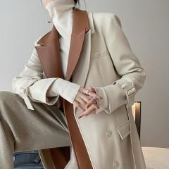 JW酒窝定制 双层领拼接PU皮酷飒风衣 中长款英伦风气质休闲外套秋